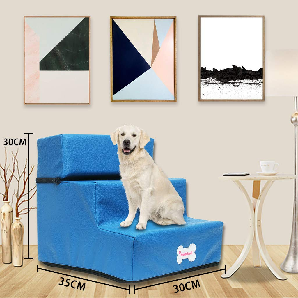 BaZhaHei Escaleras para Perros Moda Nueva Escalera Plegable para Mascotas de Cuero Cama para Mascotas Desmontable Gato Rampa para Perros 3 Pasos para Gatos y Perros: Amazon.es: Hogar