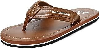 Quickshark Mens Flip Flops Leather Thong Sandals Arch Support Beach Slippers