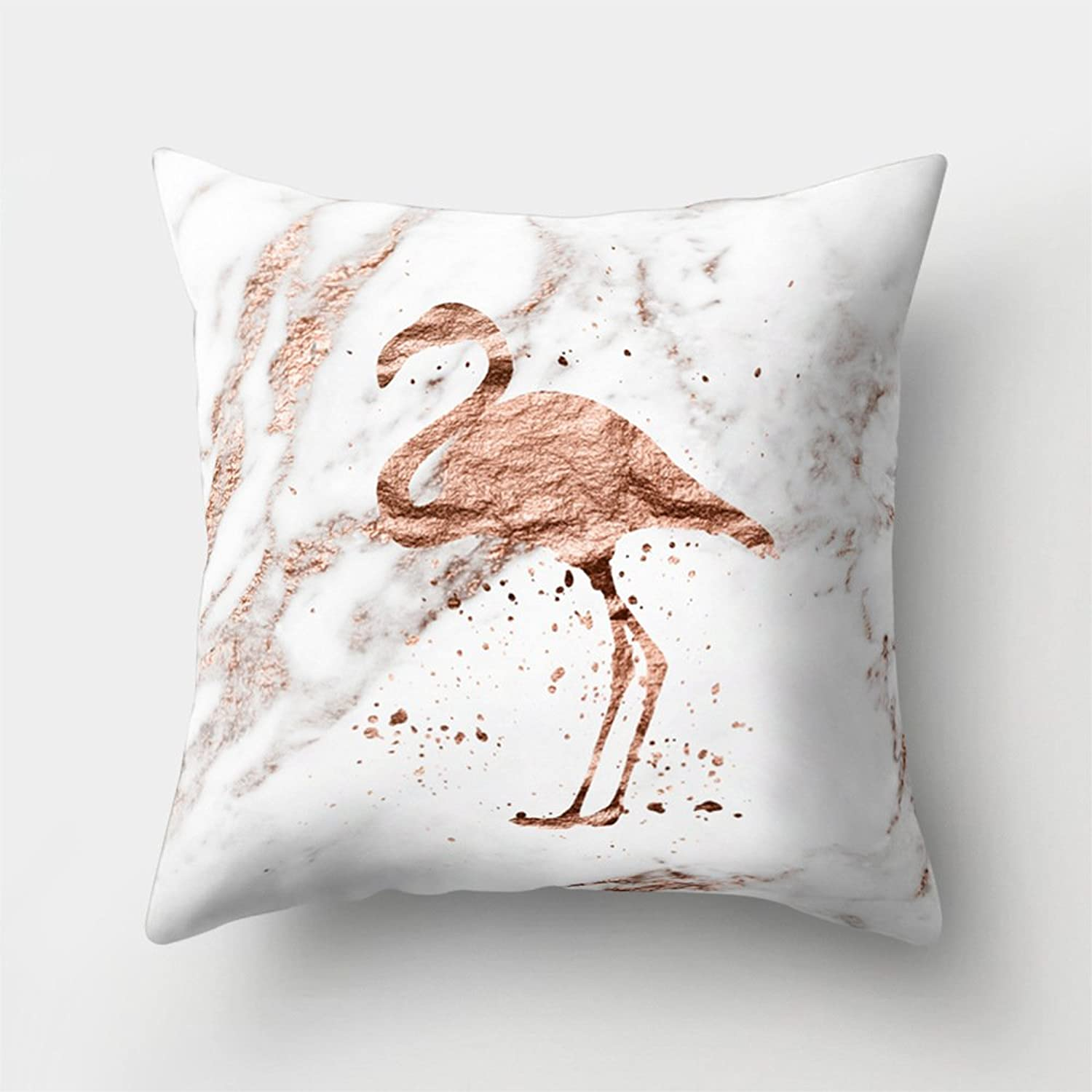 Aremazing Modern pink gold White Marble Pattern Polyester Throw Pillow Case Cushion Cover Home Decor 18 X 18 Inches (Flamingo)