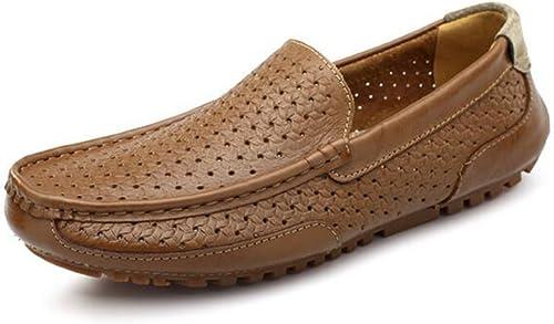 GLSHI Chaussures de conduite décontractées en cuir souple pour hommes Chaussures de course creuses d'été, kaki, bleu, bcourir clair