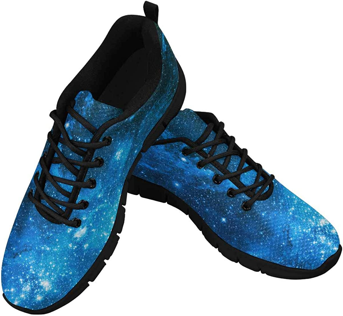 INTERESTPRINT Galaxy Stars Nebula Women's Athletic Mesh Breathable Casual Sneakers Fashion Tennis Shoes