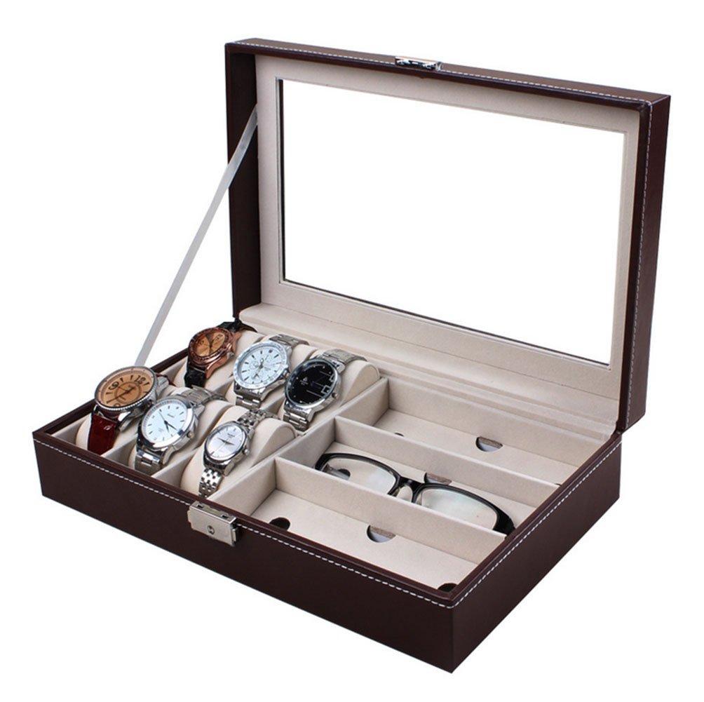 meshela 9 compartimentos caja de relojes y gafas caja para guardar 6 relojes & 3 Gafas 33 x 20 x 8 cm): Amazon.es: Hogar