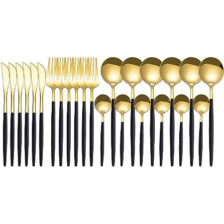 Lilon Ensemble de couverts 24 pièces en acier inoxydable avec effet miroir doré