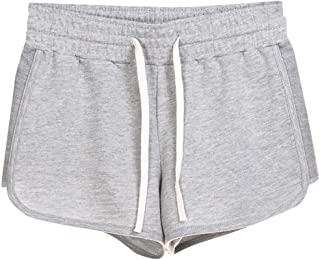 BBesty Save 15% Women's Summer Casual Solid Color Elastic Waist Loose Pajama Sweatpants Gym Sport Shorts