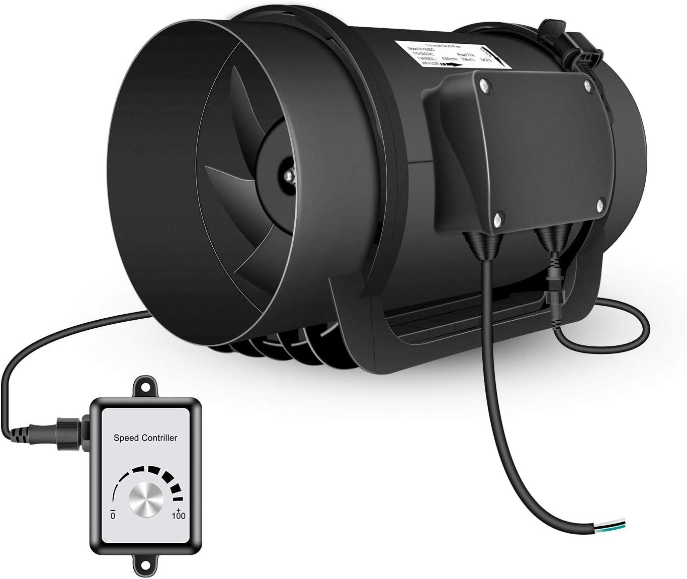 Hon&Guan Extractor de Aire Silencioso 200mm con Controlador de Velocidad Variable, Bajo Consumo Ventilador Axial en Línea para Baño, Oficina, Hidroponia