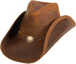 Minnetonka Men's Leather Outback Hat Brown Medium