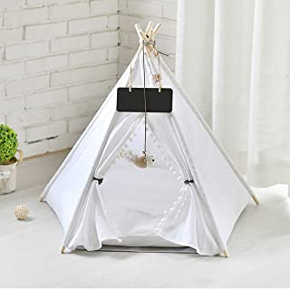 Indoor Pet Teepee Tent for Small Cat Dog, Folding Puppy House Bed with Cushion Blackboard