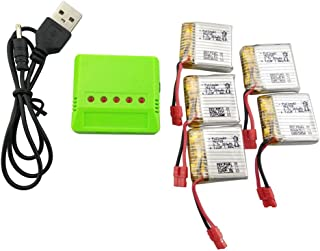 sea jump 5PCS 3.7V 380mah Lithium Battery +1pcs 5in1 Green Balance Charger for SYMA X21 X21W Quadcopter Spare Parts Drone Battery