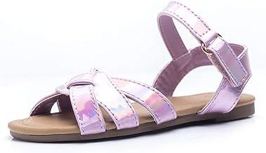FITORY Girls Sandals, Flat Toddler Slides with Adjustable Strap for Kids Size 5-10