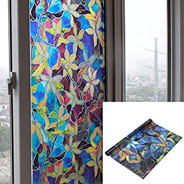 Self-adhesive Window Film, Colorful Flower Frosted Glass Window Stickers Privacy Stained Static Cling Glass Decor, 45 x 200 cm