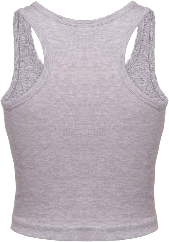 NEWITIN 4 Pack Cotton Crop Tank Top Sleeveless Racerback Basic Tank Crop Tops for Women Girls