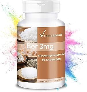 Boro 3mg – Boron – ¡Bote para 6 MESES! – vegano – sin estearato de magnesio– 180 comprimidos
