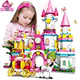 HOGOKIDS Girls Castle STEM Building Toys - 998 PCS Building Sets for Girls Age 6 7 8 9 10 11 12 Years Old | 5-in-1 Pink Princess Castle & Carriage Creative Building Blocks Kits Toys Gift for Kids