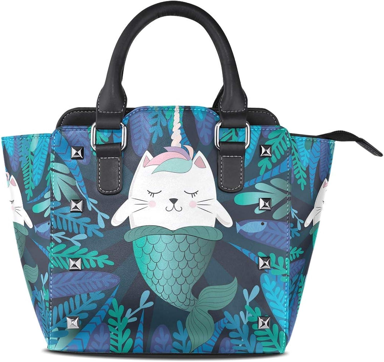 My Little Nest Women's Top Handle Satchel Handbag Funny Cat Unicorn Mermaid Ladies PU Leather Shoulder Bag Crossbody Bag