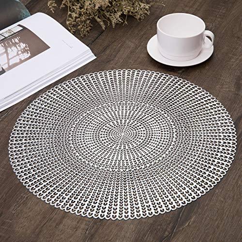 42cm visgraat patroon PVC Placemats Set van 4 wasbare Placemats Holle ronde tafel matten voor eettafel 05