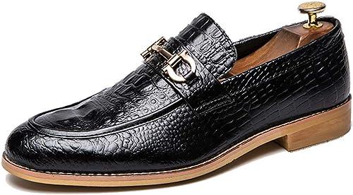 LXYIUN Coiffeur Homme Chaussures,Pointu Chaussures en Cuir Chaussures de Mariage Boîte de Nuit Chaussures de marée,noir,39