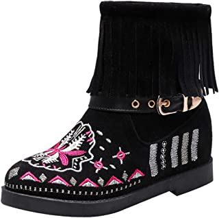 JOJONUNU Women Classic Fringe Booties Flat Autumn Shoes