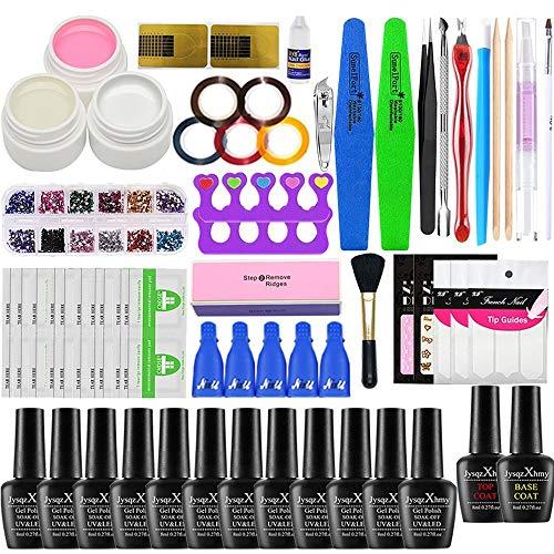 Kit de esmalte de uñas con 48W UV Light Starter Kit Set de esmalte de gel -16 colores, lámpara de uñas LED con herramientas de manicura mejoradas (No nail lamp)