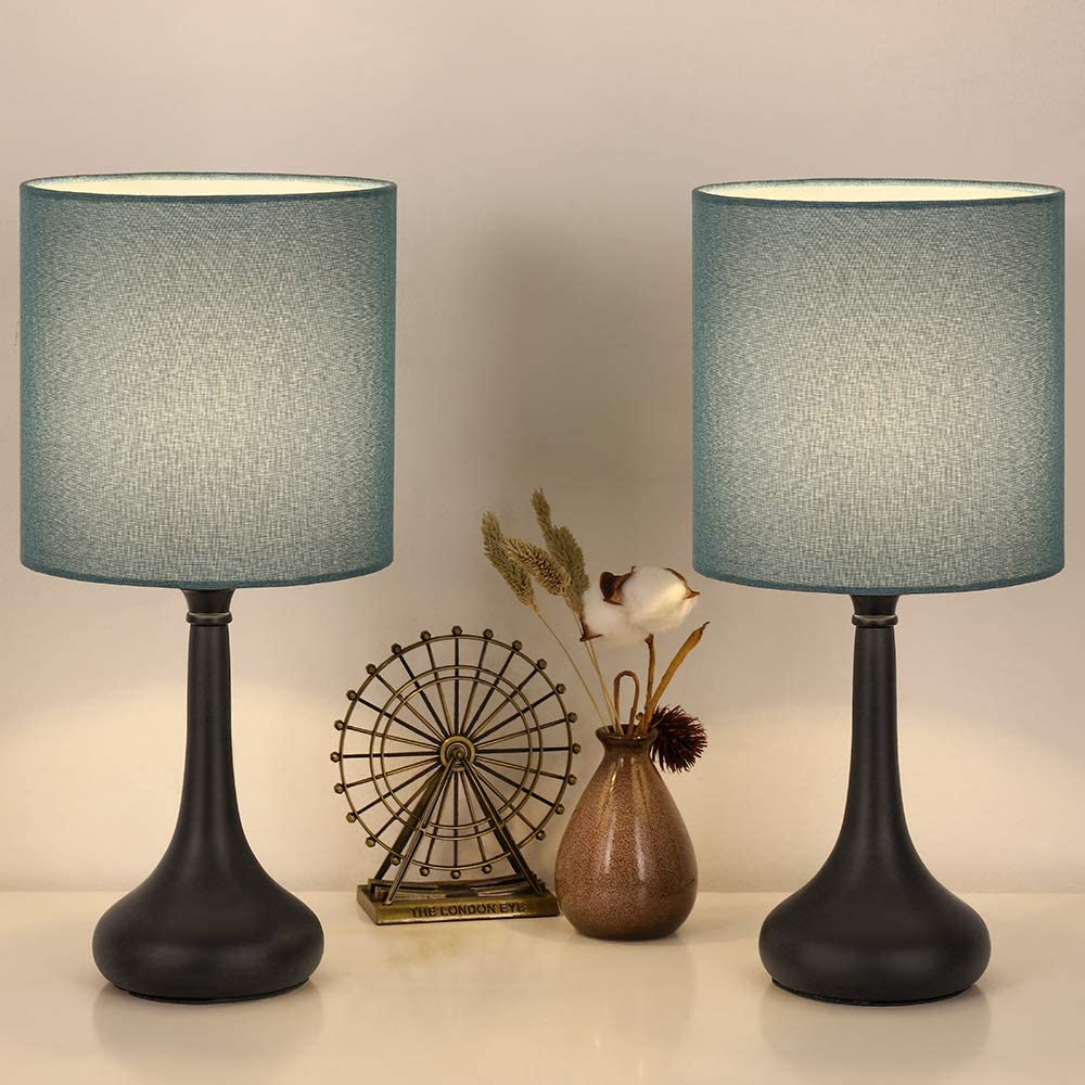Bedside Table Lamps, Modern Desk Lamps Minimalist Nightstand Lamps with  Blue Fabric Shades and Black Base for Living Room Family Bedroom Bedside