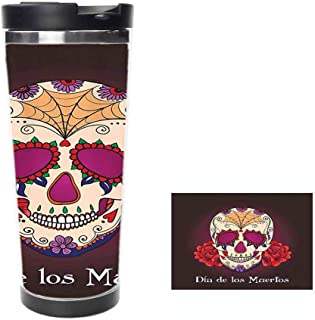 Dia de Los Muertos Quote Spanish Skull Dead Head Skeleton Vivid PrintCoffee Cup,Drinking Cup, Female Male,Double stainless steel vacuum insulation,Thermos cup-14 oz-397ML