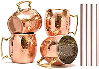 RATNA Moscow Mule Mugs Set of 4, Handcrafted Copper Mug With Straw Pure Solid Stainless steel Copper Cups with Hammered Fi...