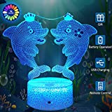 Dolphin Kids Night Light with Remote & Smart Touch 7 Colors + 16 Colors Changing Dimmable 3D Optical Illusion Lamps Kids Lamp As a Gift Ideas for Kids Girls Women
