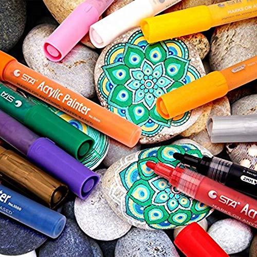ACRYLIC PAINT MARKERS SET OF 12 Paint Pens markers for Glass permanent - Plastic - Rock Painting - Porcelain - Ceramic - Fabric - Enamel pen - Canvas - School craft - Paint supplies for artists Photo #9