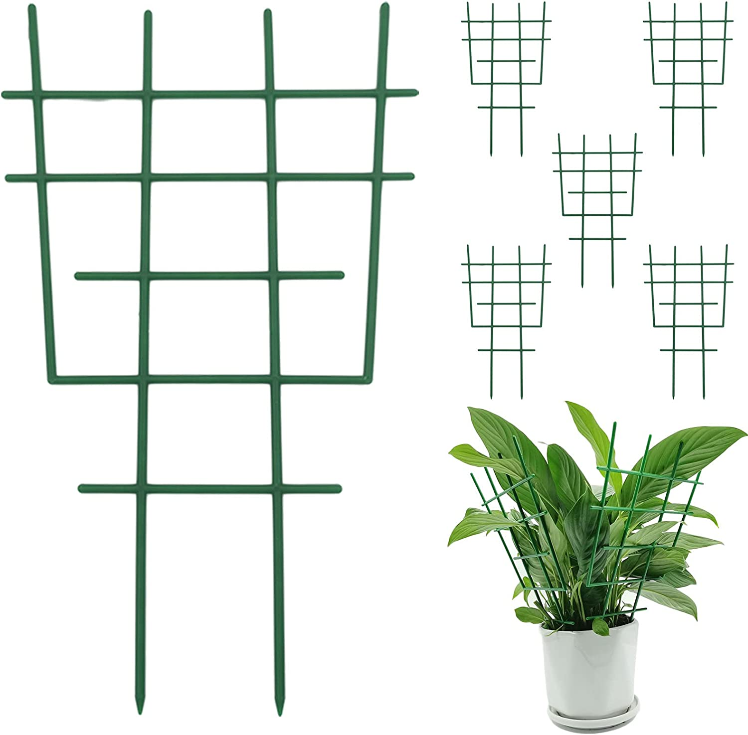 AGiKord 6PCS Plastic Garden Trellis Supports, Plant Trellis for Climbing Plants, Stackable Potted Plant Support for Flower Vegetable Rose Vine Pea Cucumbers (12 x 7.3 x 0.2 inch)