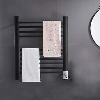 WF-FDBGshlef Radiador termostático eléctrico con Calentador de Toallas, radiador, toallero de Calentamiento Constante montado en la Pared para Inodoro de baño 650 x 500 mm - Negro