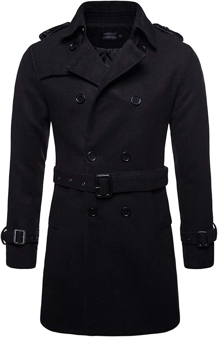 Gihuo Men's Lapel Wool Blend Double Breasted Pea Coat Topcoat with Belt