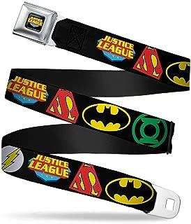 Buckle-Down Seatbelt Belt - Justice League Superhero Logos C/U Black - 1.5