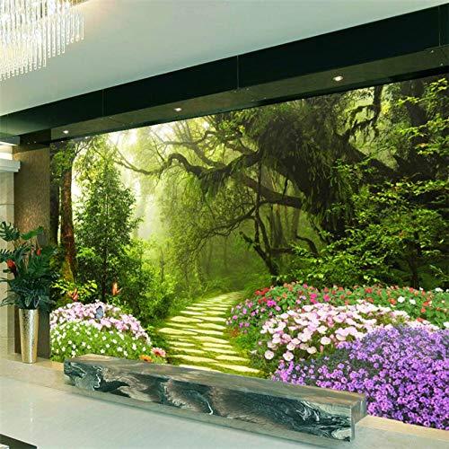 Fototapete Ursprüngliche Waldweg 3D Tv Hintergrund Benutzerdefinierte Große Fototapete Grün Seidentuch Tapete 450X280 Cm