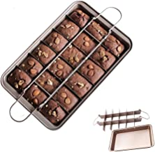 Flawsome's Brownie Pan, Non-Stick Baking Pans with Built-in Slicer, Perfect Crispy Edges, 18 Pre-Slice, Dual Use, Carbon S...