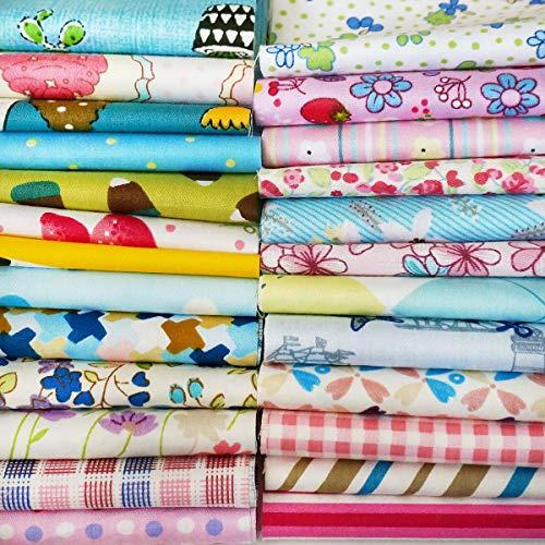 Quilting Fabric, Misscrafts 25pcs 12' x 12' (30cm x 30cm) Cotton Craft Fabric Bundle Squares Patchwork Pre-Cut Quilt Squares for DIY Sewing Scrapbooking Quilting Dot Pattern