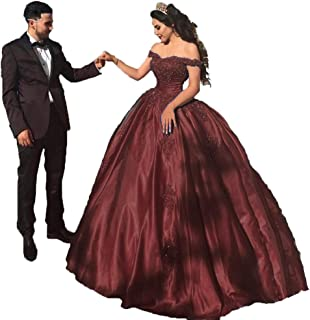 Best burgundy quince dresses off the shoulder Reviews
