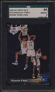 1992 Upper Deck #1B Shaquille O'Neal HOF RC Trade Card SGC 88 NMMT 8 52356