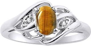 Juego de anillos de ojo de tigre de diamante y oro blanco de 14 quilates con piedra natalicia