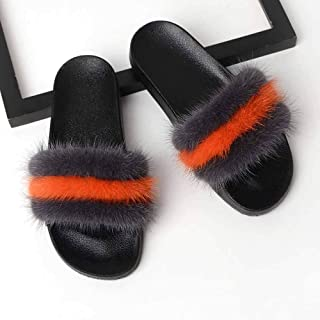 Faux Fur Slippers Open Toe Flat Sandals Comfortable Fluffy Sliders Casual Slip Slippers Shoes for Indoor Outdoor