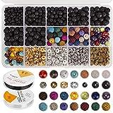 AIEX 606 Pcs Lava Kit de granos Lava Stone Beads Surtido de colores Chakra Beads Spacer Beads con 2 rollos elásticos Stretch Strings y 2 Bead Needles para adultos Aceite esencial Pulsera Collar