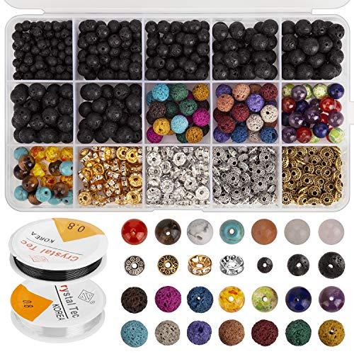 AIEX 606 Stück Lava Perlen Kit Lavastein Perlen Verschiedene farbige Chakraperlen Spacer Perlen mit 2 elastischen Stretch Saiten und 2 Perlennadeln für ätherisches Öl Armband Halskette