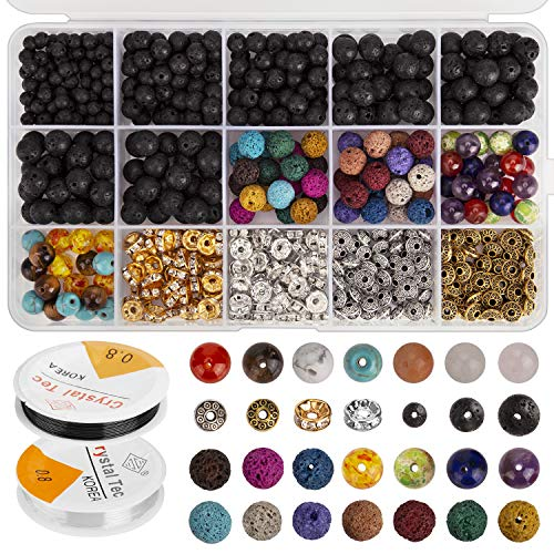 AIEX 606 Pcs Lava Beads Kit Lava Stone Beads Assorted Colored Chakra Beads Spacer Beads with 2 Roll Elastic Stretch Strings and 2 Bead Needles for Adult Essential Oil Bracelet Necklace Making