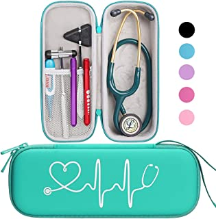 BOVKE Travel Carrying Case for Classic III Stethoscope - Extra Room for Taylor Percussion Reflex Hammer and Reusable LED Penlight,Emerald