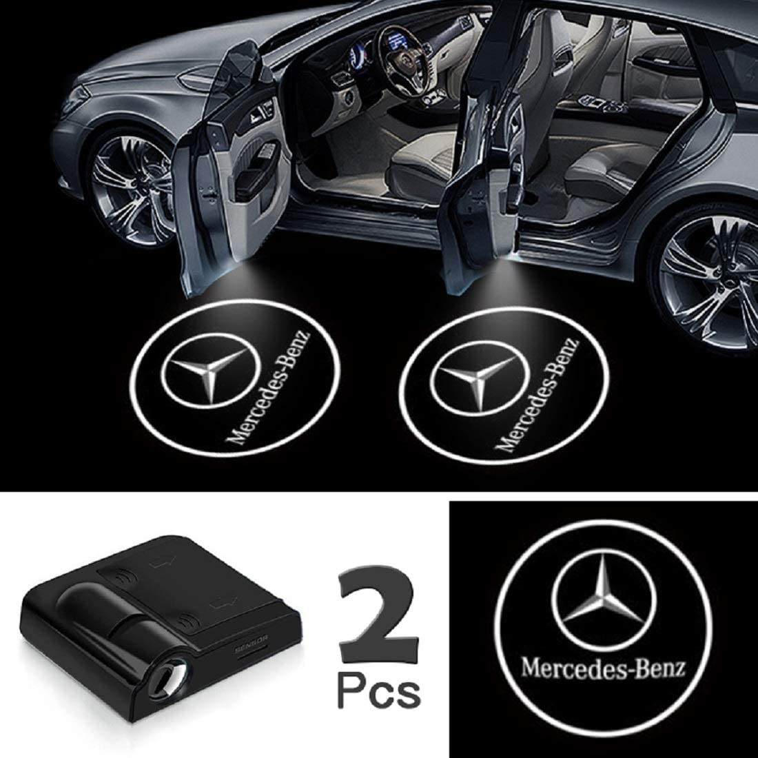 Universal Wireless Car Door Led Projector Lights Upgraded Car Door Welcome Logo Projector Lights with 3.M Sticker,forBenz 2 Pack Car Door Lights Logo Projector
