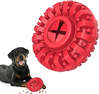 Lewondr Dog Chew Toy for Aggressive Chewer, Durable Natural Rubber Indestructible Dog Toys Treat Dispenser for Power Chewe...