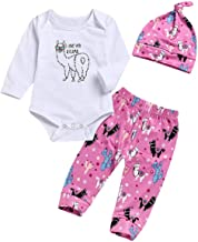 Baby Girl I Love You A Llama Outfits Set Cute Alpaca Graphic Print Long Sleeve Romper + Pants + Hat