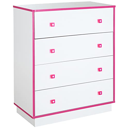 South Shore Logik 4 Drawers Chest, Pure White/Pink
