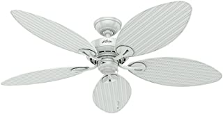 Hunter Indoor / Outdoor Ceiling Fan, with pull chain control - Bayview 54 inch, White, 54097