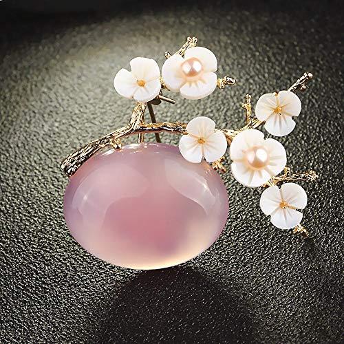 Piner Crystal Stone Pruimenbloesem broche met natuurlijke schelp Elegante zoetwaterparel broches
