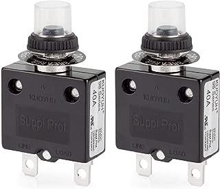 Thermal Circuit Breaker, DIYhz 40 Amp Push Button Manual Reset Circuit Breaker 32V DC 125/250VAC 50/60Hz with Quick Connect Terminals & Waterproof Button Transparent Cap 2Pcs