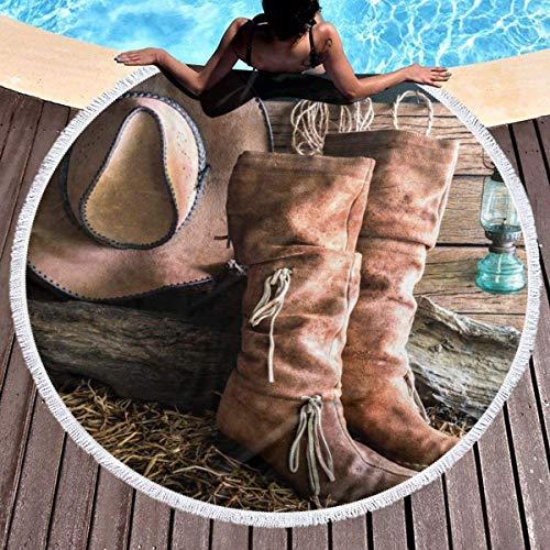 AEMAPE Cowgirl Stiefel Hut in Farm gedruckt runde Strandtuch runde Quaste Picknick Decke Stranddecke